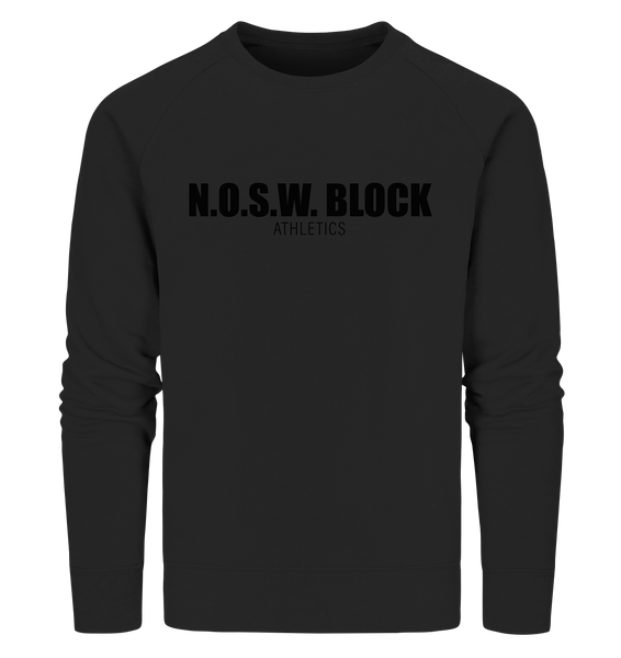 "N.O.S.W. BLOCK Sweater ""N.O.S.W. BLOCK ATHLETICS"" Männer Organic Sweatshirt schwarz"