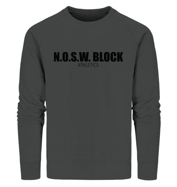 "N.O.S.W. BLOCK Sweater ""N.O.S.W. BLOCK ATHLETICS"" Männer Organic Sweatshirt anthrazit"