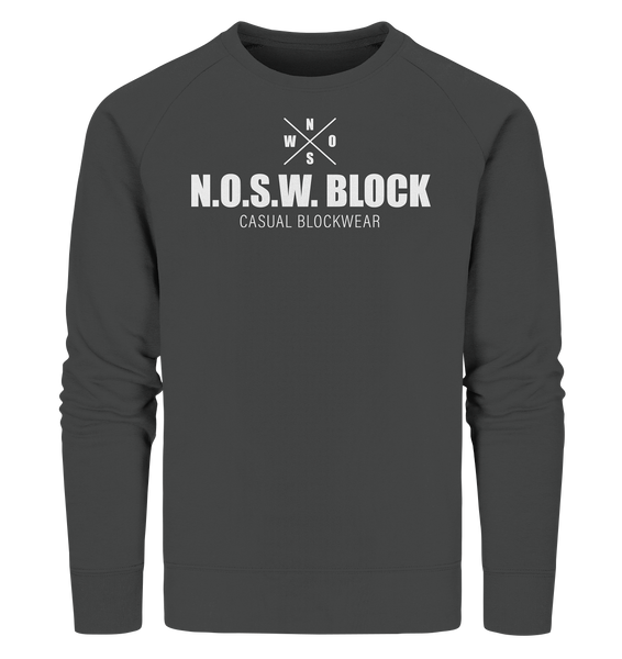 "N.O.S.W. BLOCK Sweater ""CASUAL BLOCKWEAR"" Männer Organic Sweatshirt anthrazit"