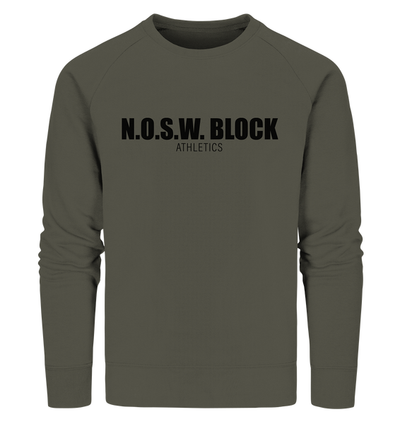 "N.O.S.W. BLOCK Sweater ""N.O.S.W. BLOCK ATHLETICS"" Männer Organic Sweatshirt khaki"