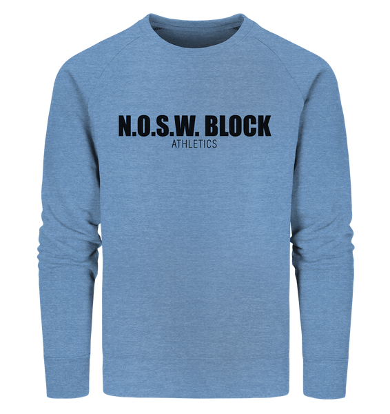 "N.O.S.W. BLOCK Sweater ""N.O.S.W. BLOCK ATHLETICS"" Männer Organic Sweatshirt mid heather blau"