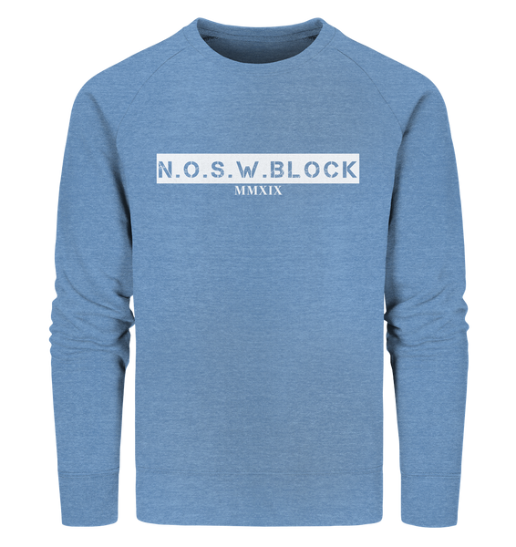 "N.O.S.W. BLOCK Sweater ""MMXIX"" Männer Organic Sweatshirt mid heather blau"