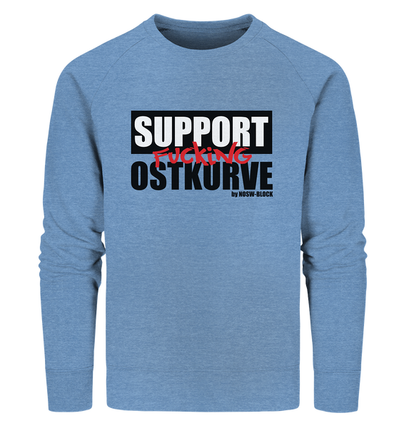 "Fanblock Sweater ""SUPPORT FUCKING OSTKURVE"" Männer Organic Sweatshirt blau"