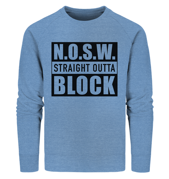 "N.O.S.W. BLOCK Sweater ""STRAIGHT OUTTA"" Männer Organic Sweatshirt mid heather blau"