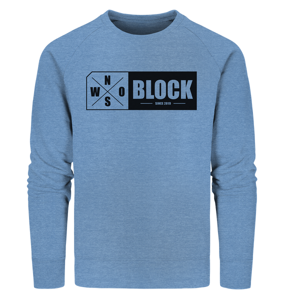 N.O.S.W. BLOCK Logo Sweater Männer Organic Sweatshirt mid heather blau