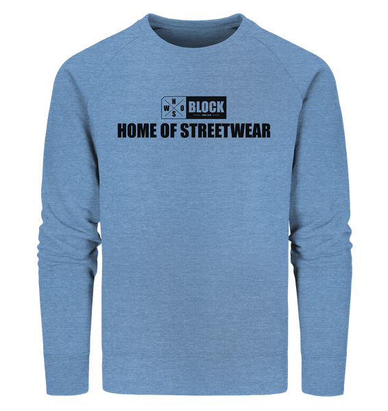 "N.O.S.W. BLOCK Sweater ""HOME OF STREETWEAR"" Männer Organic Sweatshirt mid heather blue"