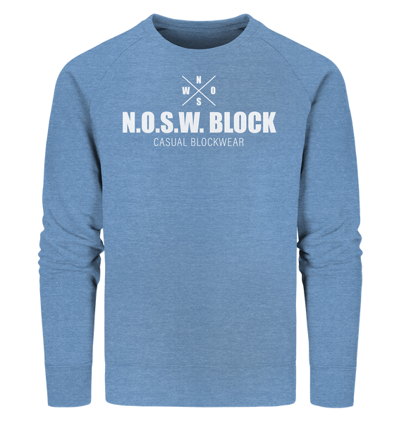 "N.O.S.W. BLOCK Sweater ""CASUAL BLOCKWEAR"" Männer Organic Sweatshirt mid heather blau"
