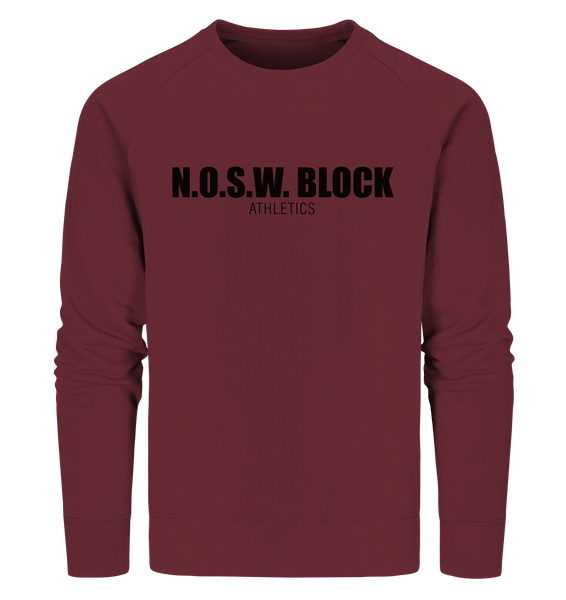 "N.O.S.W. BLOCK Sweater ""N.O.S.W. BLOCK ATHLETICS"" Männer Organic Sweatshirt weinrot"