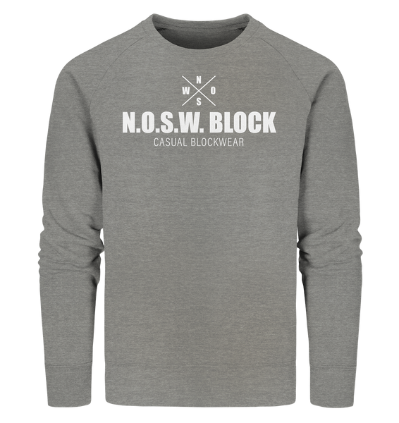 "N.O.S.W. BLOCK Sweater ""CASUAL BLOCKWEAR"" Männer Organic Sweatshirt mid heather grau"