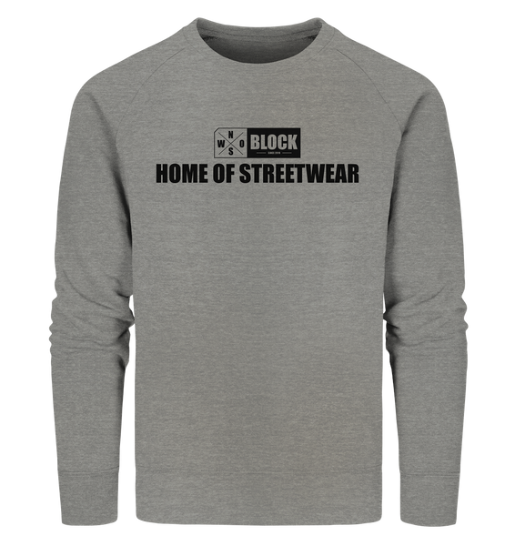 "N.O.S.W. BLOCK Sweater ""HOME OF STREETWEAR"" Männer Organic Sweatshirt mid heather grau"