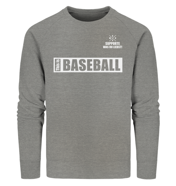 "Teamsport Sweater ""THIS IS BASEBALL"" Männer Organic Sweatshirt mid heather grau"