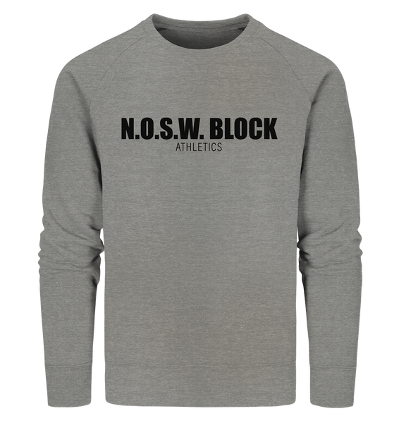 "N.O.S.W. BLOCK Sweater ""N.O.S.W. BLOCK ATHLETICS"" Männer Organic Sweatshirt mid heather grau"