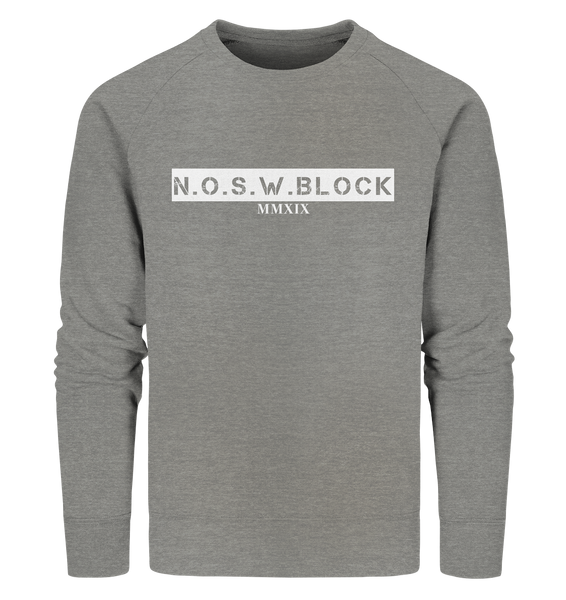 "N.O.S.W. BLOCK Sweater ""MMXIX"" Männer Organic Sweatshirt mid heather grau"