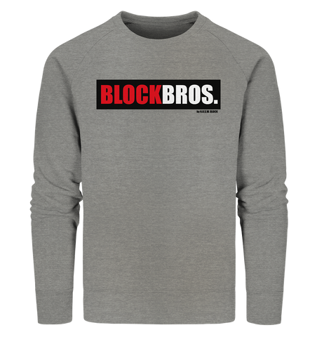 "Fanblock Sweater ""BLOCK BROS."" Männer Organic Sweatshirt mid heather grau"
