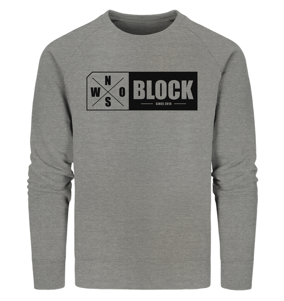 N.O.S.W. BLOCK Logo Sweater Männer Organic Sweatshirt mid heather grau