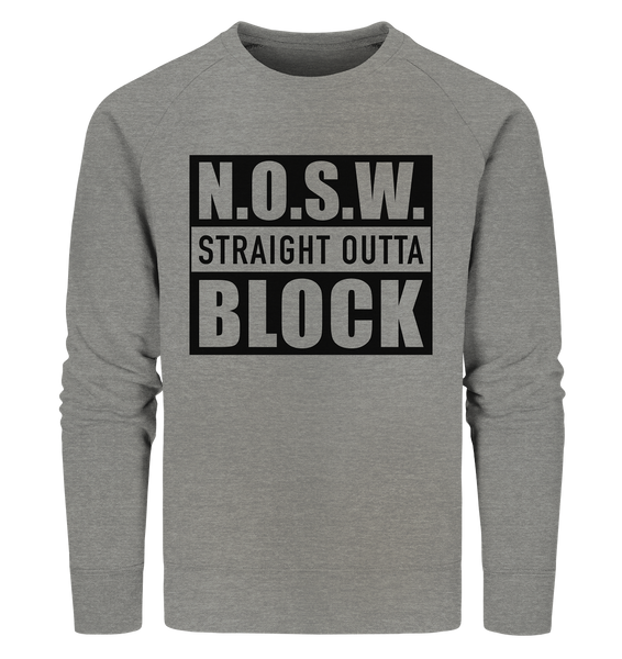 "N.O.S.W. BLOCK Sweater ""STRAIGHT OUTTA"" Männer Organic Sweatshirt mid heather grau"