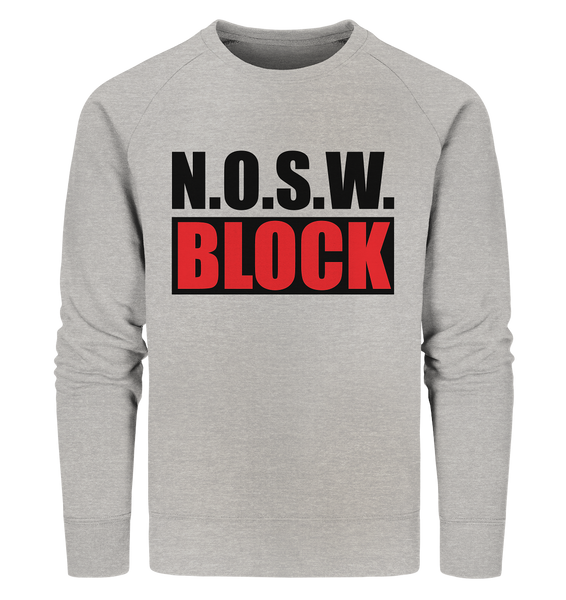 N.O.S.W. BLOCK Logo Sweater Männer Organic Sweatshirt heather grau