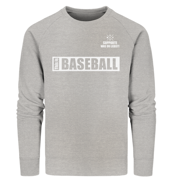 "Teamsport Sweater ""THIS IS BASEBALL"" Männer Organic Sweatshirt heather grau"