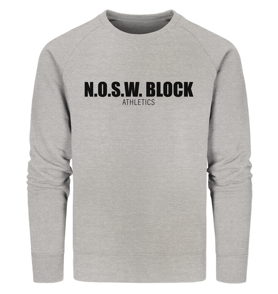 "N.O.S.W. BLOCK Sweater ""N.O.S.W. BLOCK ATHLETICS"" Männer Organic Sweatshirt heather grau"