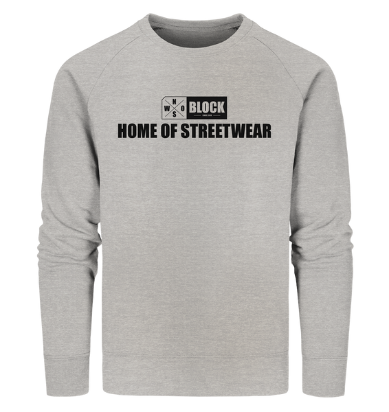 "N.O.S.W. BLOCK Sweater ""HOME OF STREETWEAR"" Männer Organic Sweatshirt heather grau"
