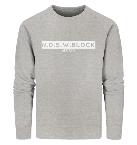 "N.O.S.W. BLOCK Sweater ""MMXIX"" Männer Organic Sweatshirt heather grau"