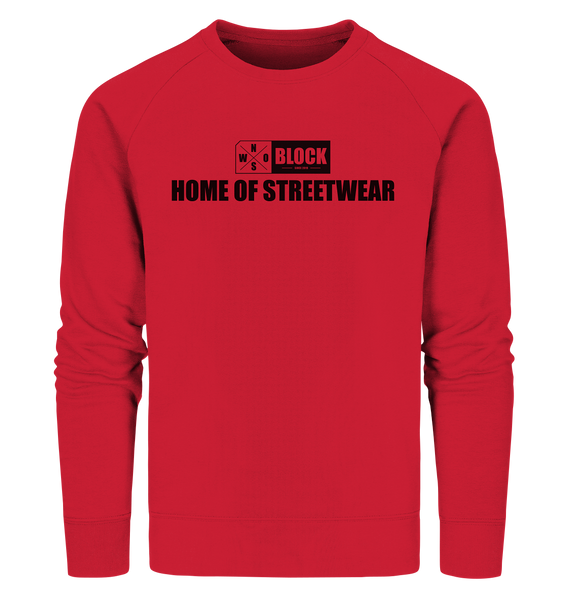 "N.O.S.W. BLOCK Sweater ""HOME OF STREETWEAR"" Männer Organic Sweatshirt rot"