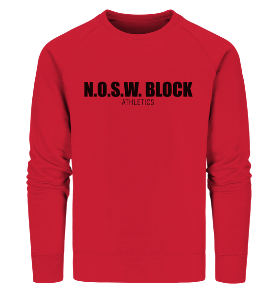 "N.O.S.W. BLOCK Sweater ""N.O.S.W. BLOCK ATHLETICS"" Männer Organic Sweatshirt rot"