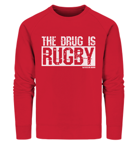 "Fanblock Sweater ""THE DRUG IS RUGBY"" Männer Organic Sweatshirt rot"