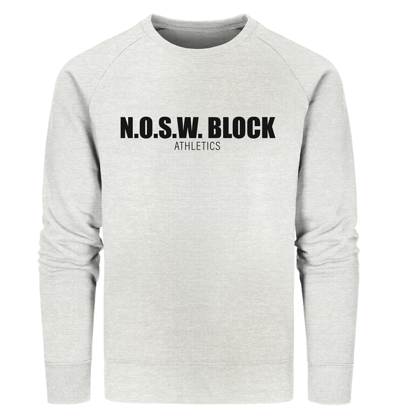 "N.O.S.W. BLOCK Sweater ""N.O.S.W. BLOCK ATHLETICS"" Männer Organic Sweatshirt creme heather grau"