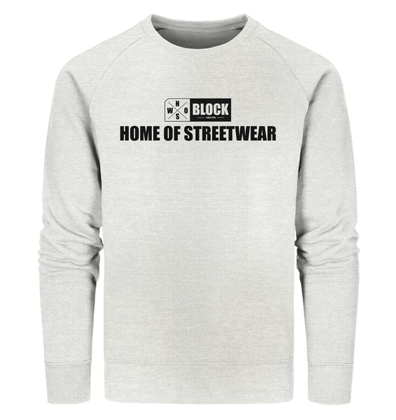 "N.O.S.W. BLOCK Sweater ""HOME OF STREETWEAR"" Männer Organic Sweatshirt creme heather grau"