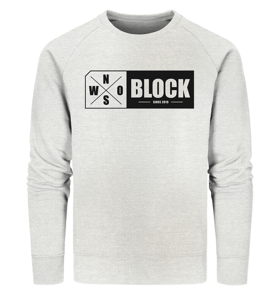 N.O.S.W. BLOCK Logo Sweater Männer Organic Sweatshirt creme heather grau