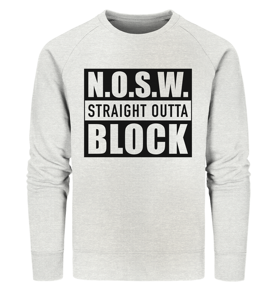 "N.O.S.W. BLOCK Sweater ""STRAIGHT OUTTA"" Männer Organic Sweatshirt creme heather grau"