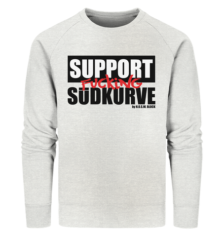 "Fanblock Sweater ""SUPPORT FUCKING SÜDKURVE"" Männer Organic Sweatshirt creme heather grau"