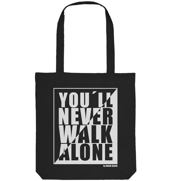 "Fanblock Tote-Bag ""YOU´LL NEVER WALK ALONE"" Organic Baumwolltasche schwarz"