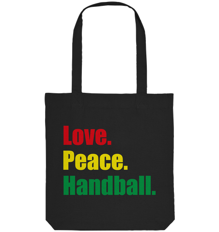 "Teamsport Tote-Bag ""Love. Peace. Hockey."" Organic Baumwolltasche schwarz"