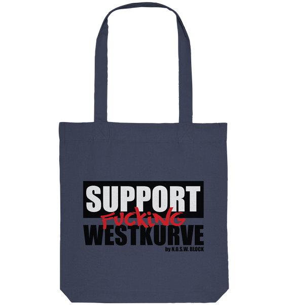 "Fanblock Tote-Bag ""SUPPORT FUCKING WESTKURVE"" Organic Baumwolltasche midnight blue"