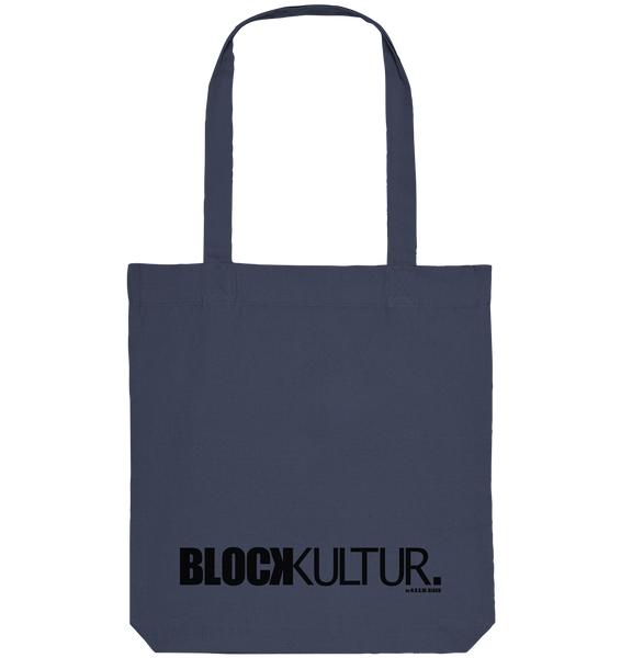 "Fanblock Tote-Bag ""BLOCK KULTUR."" Organic Baumwolltasche midnight blue"