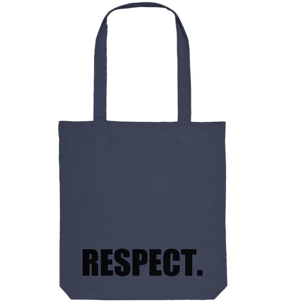 "Fanblock Tote-Bag ""RESPECT."" Organic Baumwolltasche midnight blue"