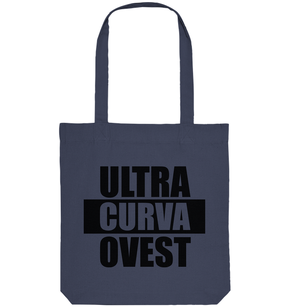 "Ultras Tote-Bag ""ULTRAS CURVA OVEST"" Organic Baumwolltasche midnight blue"