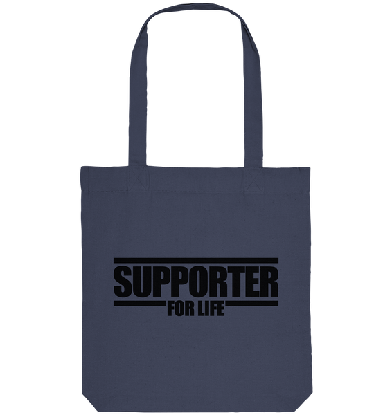 "Supporter Tote-Bag ""SUPPORTER FOR REAL"" Organic Baumwolltasche midnight blue"