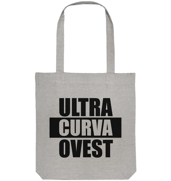 "Ultras Tote-Bag ""ULTRAS CURVA OVEST"" Organic Baumwolltasche heather grau"