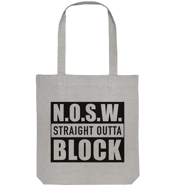 "N.O.S.W. BLOCK Organic Tote-Bag ""STRAIGHT OUTTA"" Baumwolltasche heather grau"