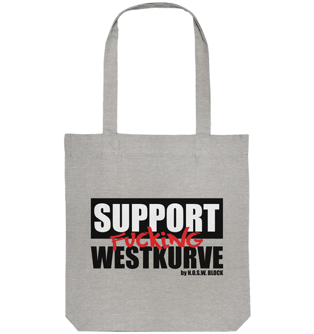 "Fanblock Tote-Bag ""SUPPORT FUCKING WESTKURVE"" Organic Baumwolltasche heather grau"