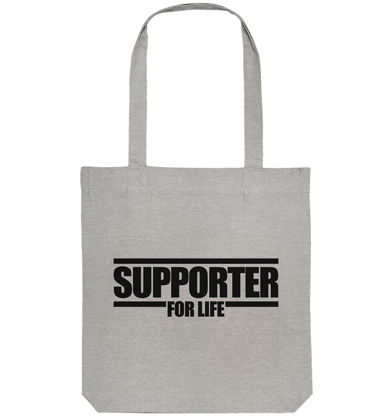"Supporter Tote-Bag ""SUPPORTER FOR REAL"" Organic Baumwolltasche heather grau"