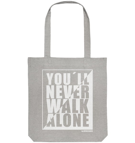 "Fanblock Tote-Bag ""YOU´LL NEVER WALK ALONE"" Organic Baumwolltasche heather grau"