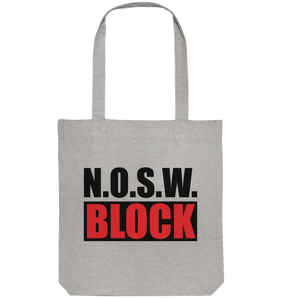 N.O.S.W. BLOCK Logo-Bag Organic Baumwolltasche heather grau