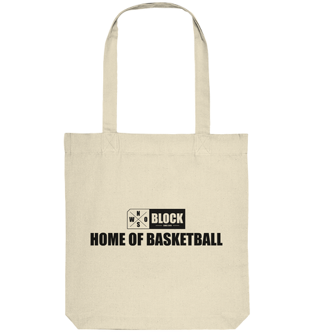 "N.O.S.W. BLOCK Organic Tote-Bag ""HOME OF BASKETBALL"" Baumwolltasche natural"