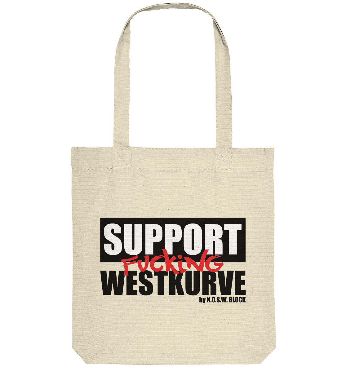 "Fanblock Tote-Bag ""SUPPORT FUCKING WESTKURVE"" Organic Baumwolltasche natural"