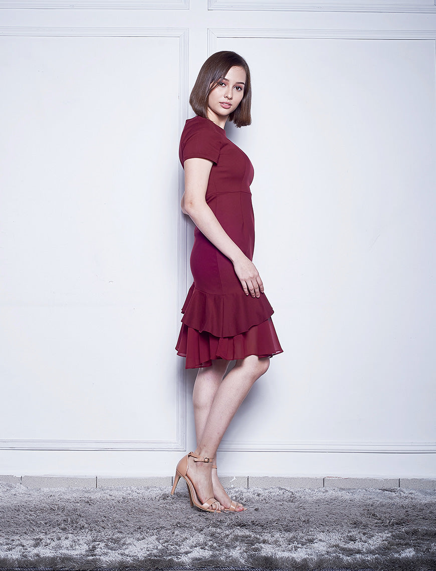 DOUBLE LAYERED CHIFFON DRESS