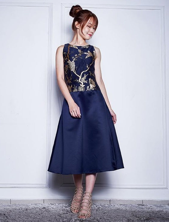 CANDISE BROCADE SATIN DRESS
